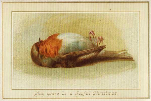 Victorian Christmas cards dead robin
