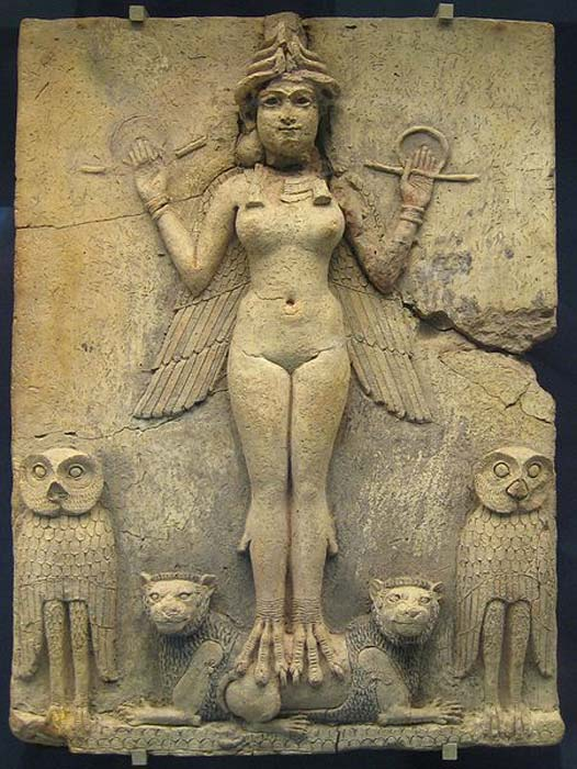 Rectangular, baked clay relief panel known as the Burney Relief or the Queen of the Night. ( Public Domain ) There is debate whether this relief depicts Inanna Ishtar, Lilitu, or Ereshkigal.